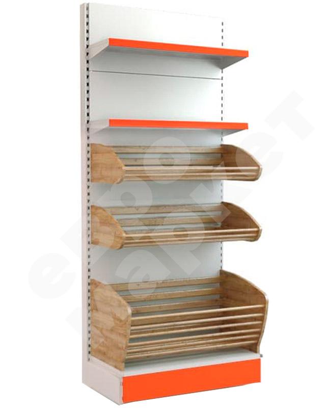 Торговый хлебный стеллаж комбинированный с двумя полками и двумя корзинами