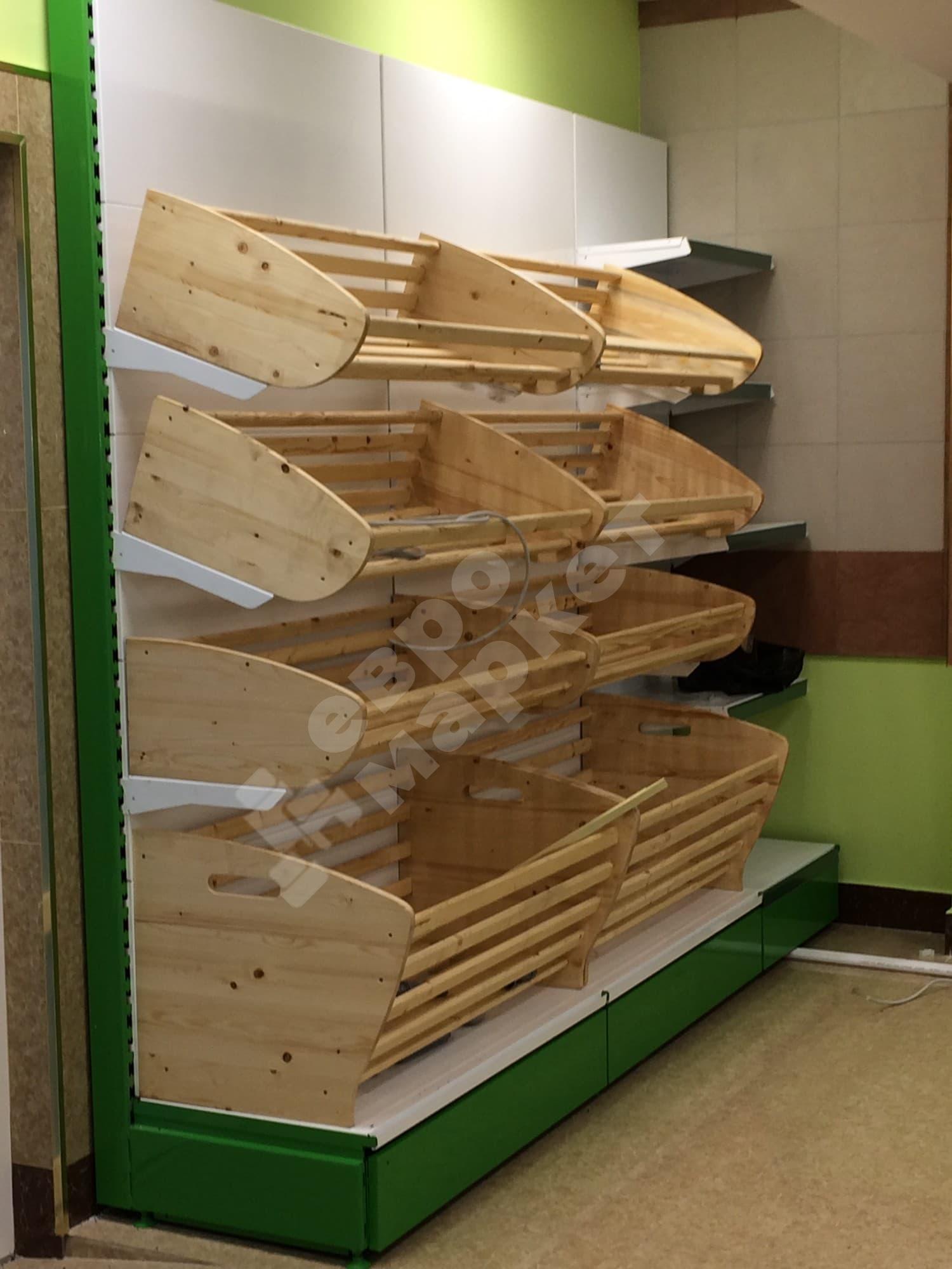 Стеллаж хлебный торговый для хлеба с фризом