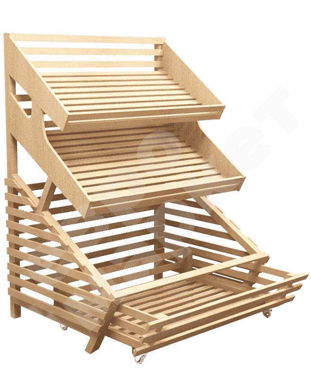 Деревянный стеллаж для хлеба пристенный с выдвижным накопителем