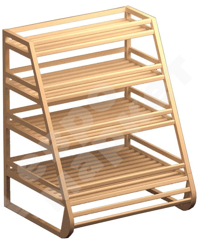 Деревянный стеллаж для хлеба и багетов с четырьмя прямыми полками