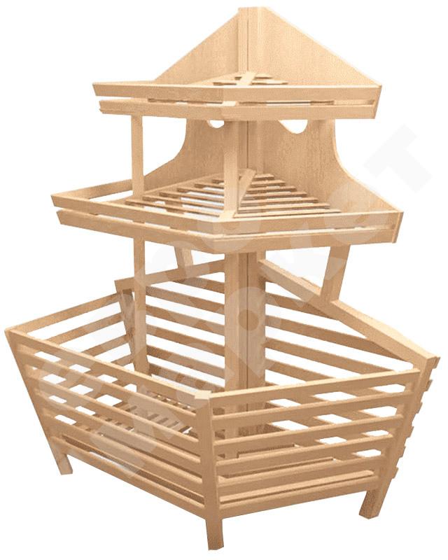 Деревянный торцевой стеллаж для хлеба с глубоким накопителем