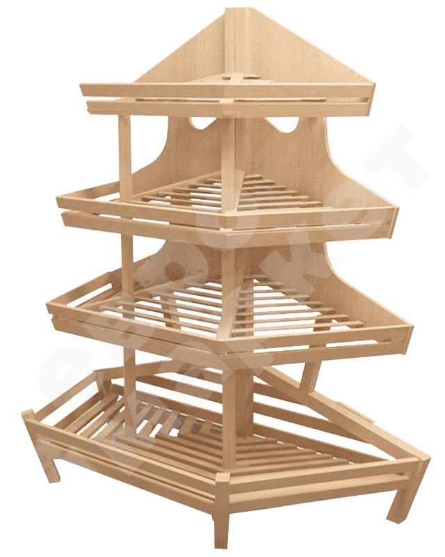 Деревянный стеллаж для хлеба с тремя полками