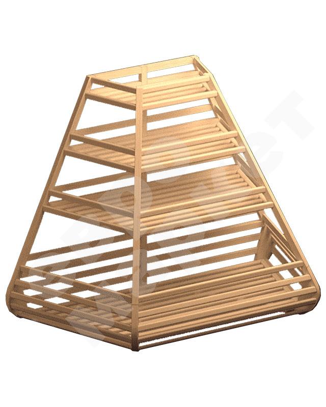 Торцевой деревянный стеллаж для хлеба и багета с накопителем