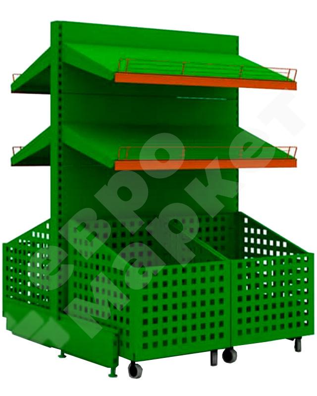 Торговый стеллаж для овощей с ящиками на колесах с двумя полками