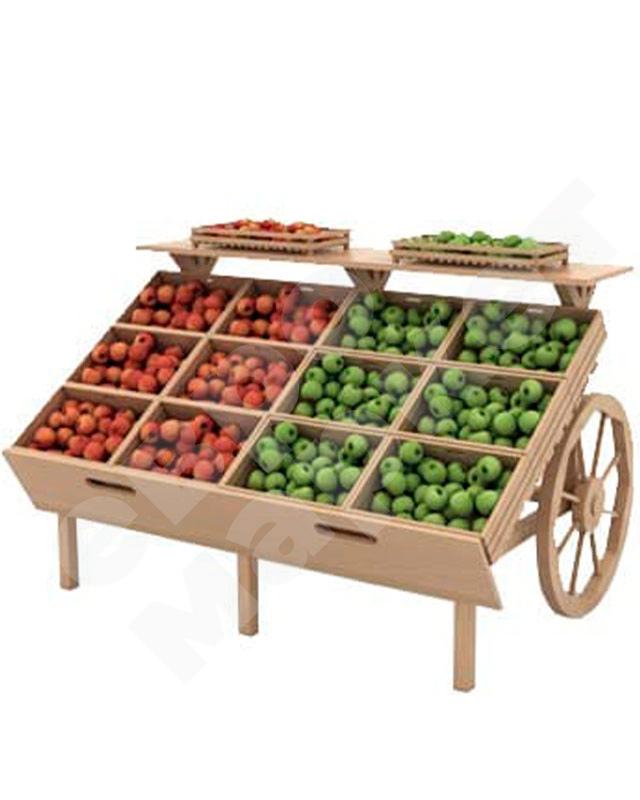 Арт. F006М. Деревянный развал для овощей и фруктов с ящиками в виде телеги. EM-02.106.001 СБ