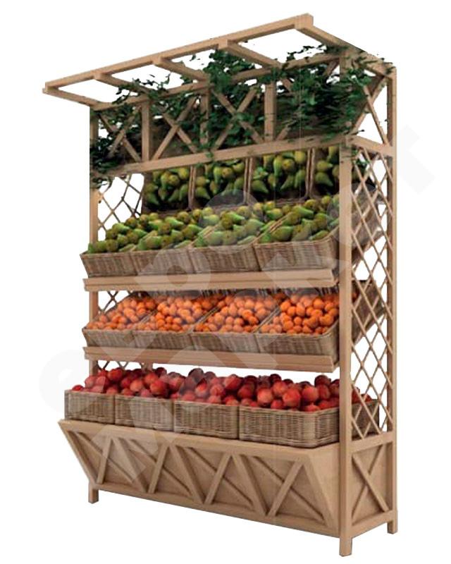 Стеллаж для овощей деревянный под корзины. EM-02.116.000 СБ