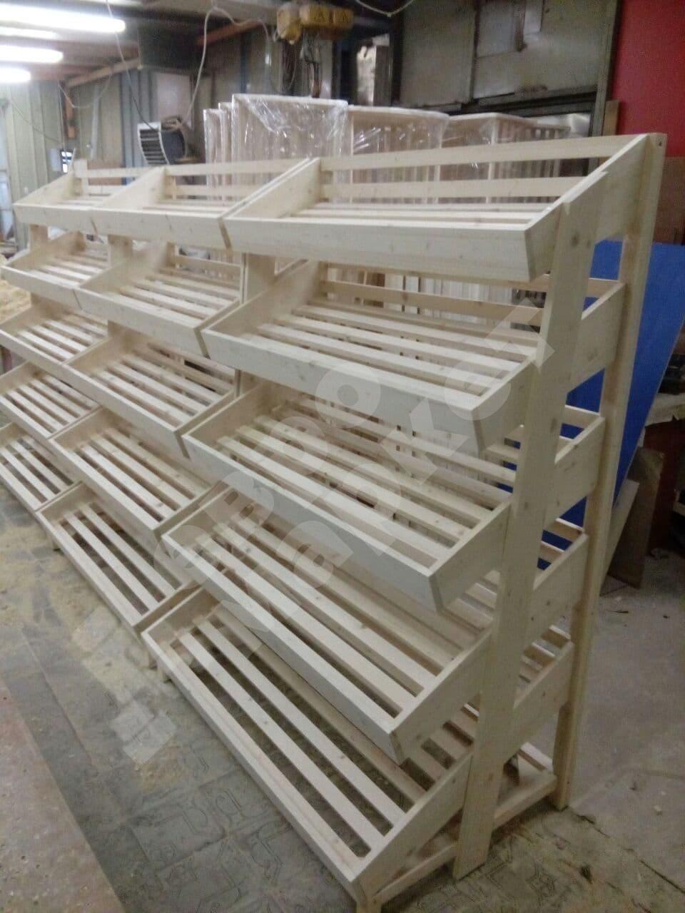 Деревянный стеллаж пристенный с пятью полками без накопителя
