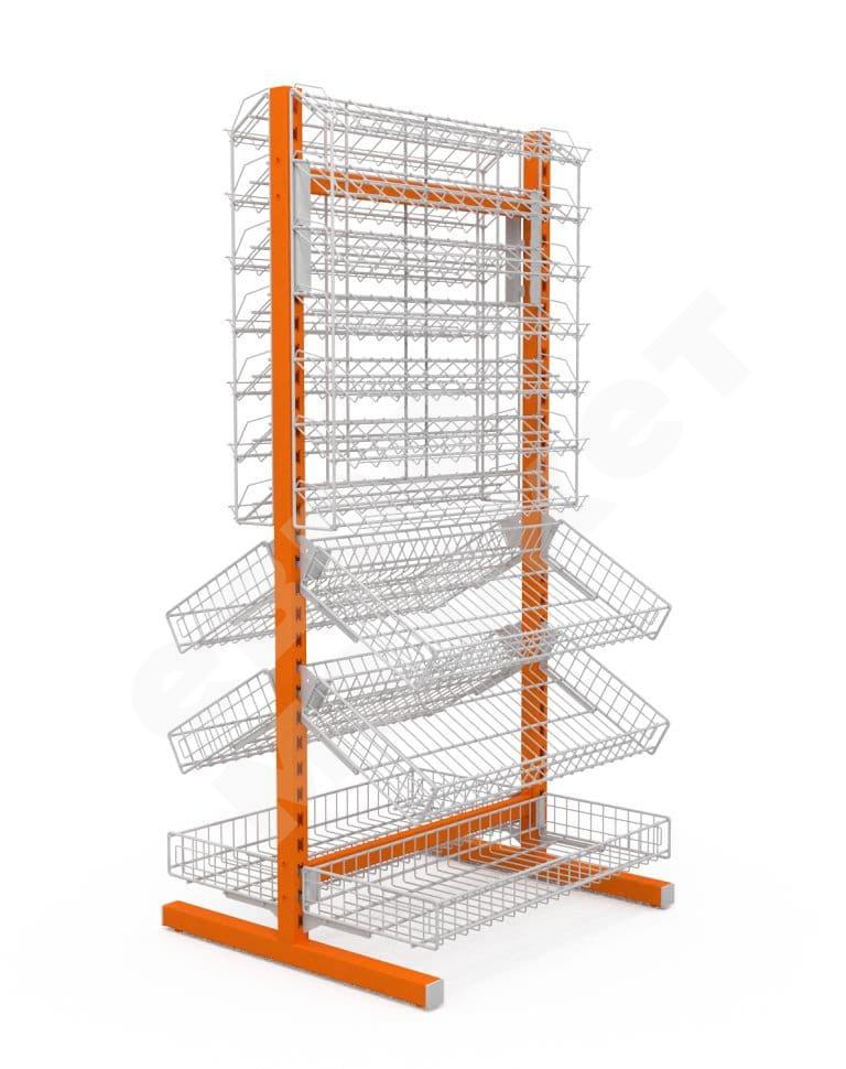 Стойка двухсторонняя (6 корзин + 2 наклонных блока 7 полок) (ДхГхВ) 736х650х1500