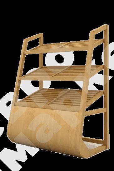 Хлебный стеллаж-витрина с задней загрузкой