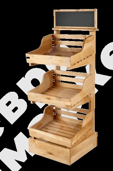 Узкая стойка деревянная с топпером и тремя полками