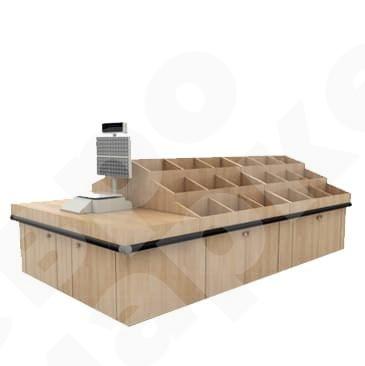 Система деревянных овощных развалов со столом для взвешивания