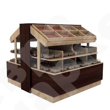 Островная система стеллажей из дерева для фруктов и орехов