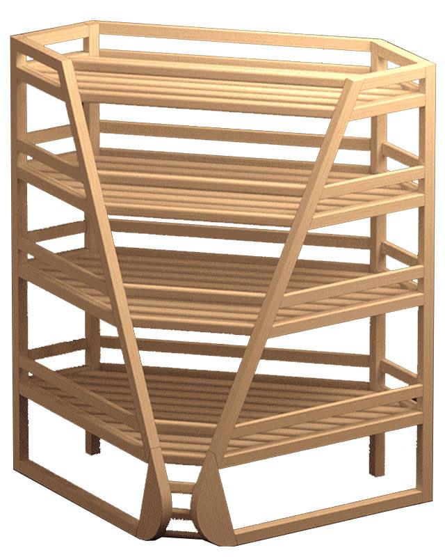 Внутренний угловой стеллаж для багетов и хлеба