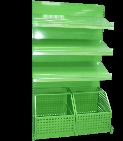 Стеллаж овощной с выкатными ящиками и тремя полками
